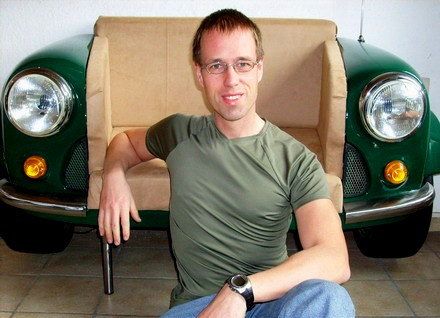 Owner Martin Schlund in front of his Mini-armchair